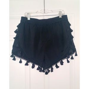 Black Shorts with Tassel Trim
